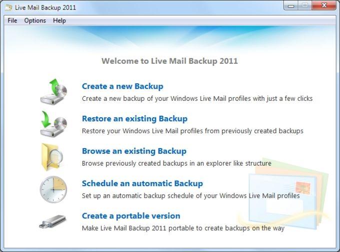 Live Mail Backup 2012