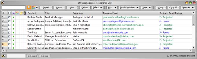 eGrabber Account-Researcher