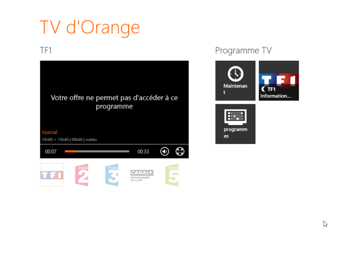 TV d'Orange pour Windows 10