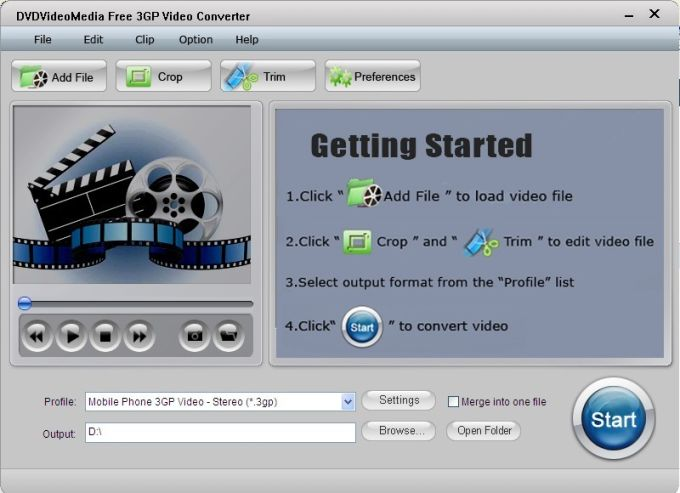DVDVideoMedia Free 3GP Video Converter