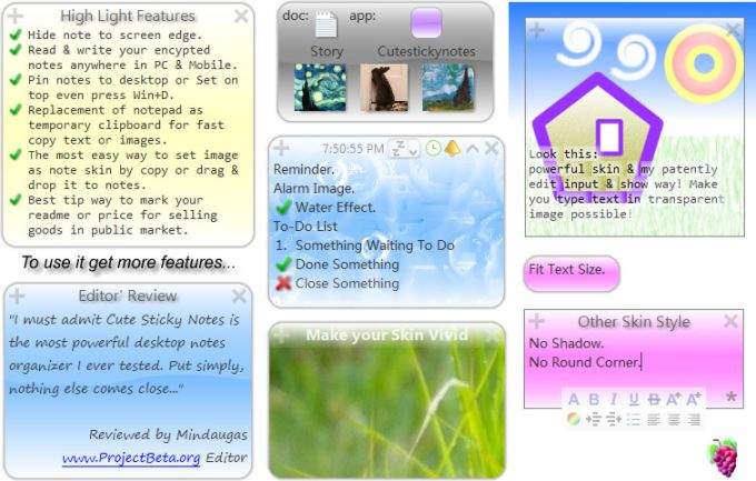 Cute Sticky Notes For Win7 XP