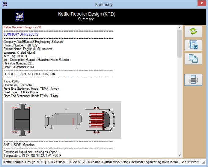 Kettle Reboiler Design (KRD)
