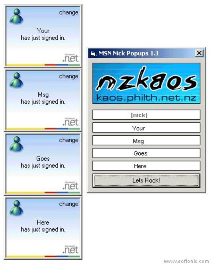 MSN Nick Popups