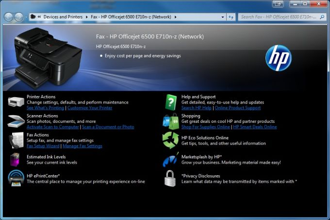 HP Officejet 6500 Printer E709 Driver