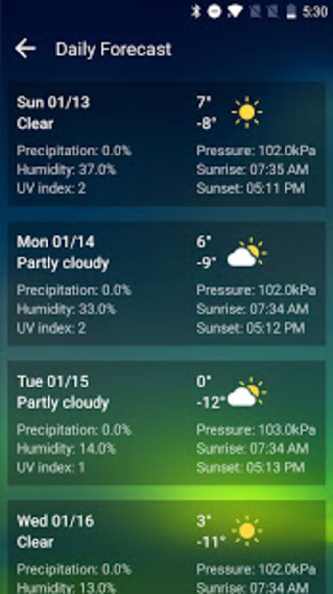 Live Weather Forecast AppRadar  Daily Report