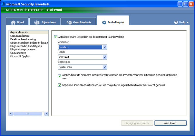 Microsoft Security Essentials voor Windows Vista / 7
