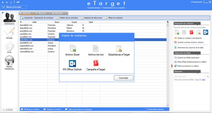 eTarget emailing