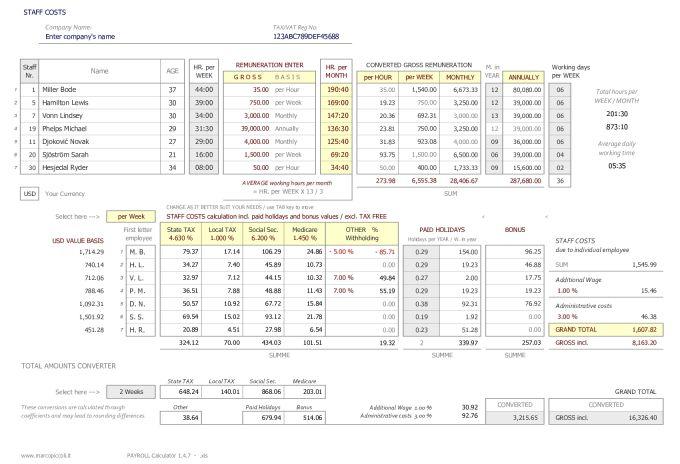 PAYROLL Calculator plus STAFF COSTS