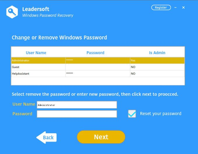 Leadersoft Windows Password Recovery