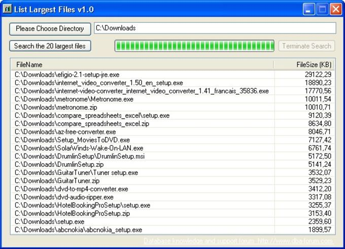 List Largest Files