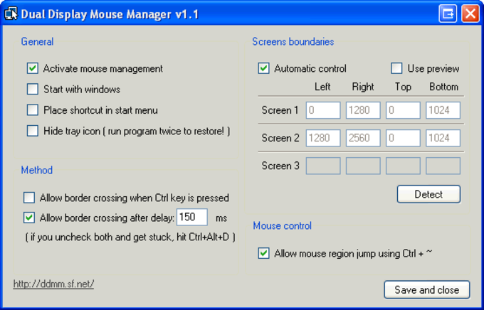 Dual Display Mouse Manager