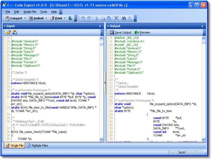 C++ Code Export