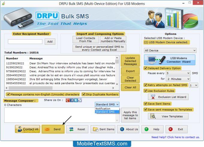 Text SMS Software (Multi USB Modem)