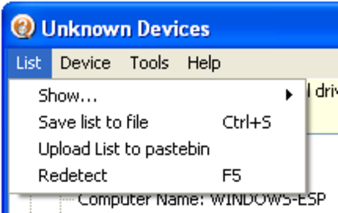 Unknown Device Identifier (free) download Windows version