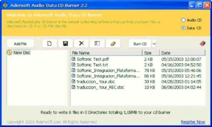 Adensoft Audio/Data CD Burner