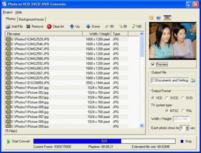 Photo to VCD SVCD DVD Converter