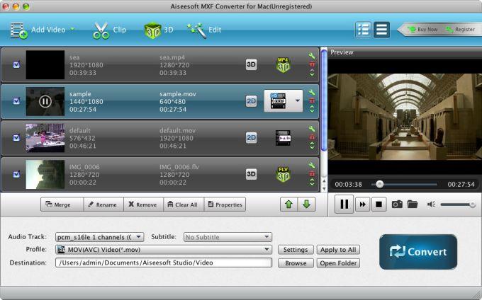 Aiseesoft MXF Converter for Mac