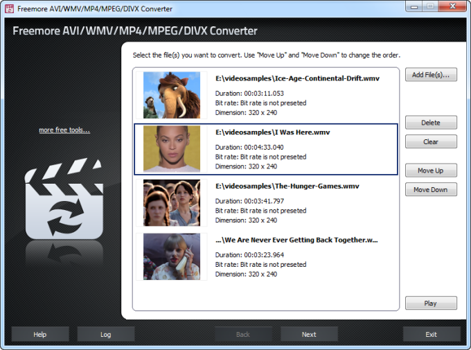 Freemore AVI/WMV/MP4/MPEG/DIVX Converter