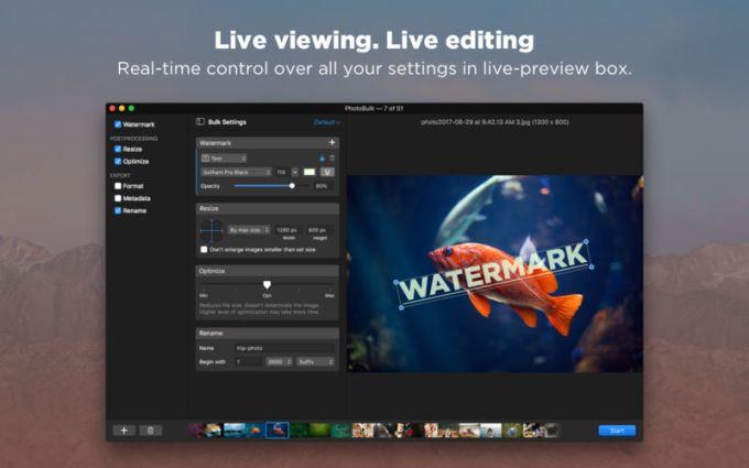 PhotoBulk: Watermark, Resize, Optimize and Rename