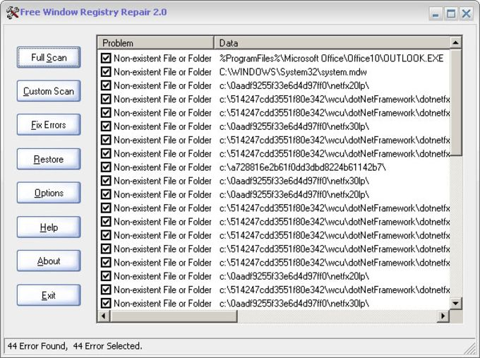 Free Window Registry Repair