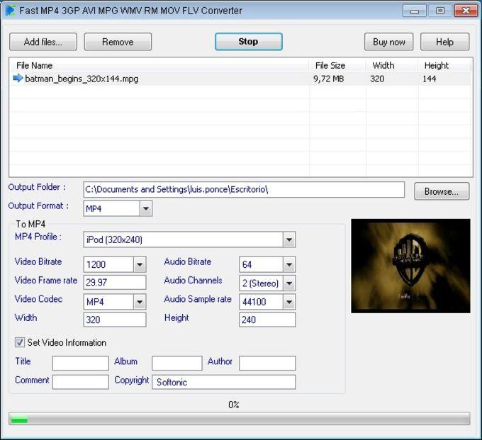 Fast MP4 3GP AVI MPG WMV RM MOV FLV Converter