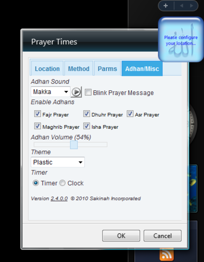 Islamic Prayer Times Windows Sidebar Gadget
