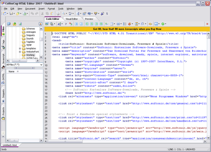 CoffeeCup The HTML Editor - Download