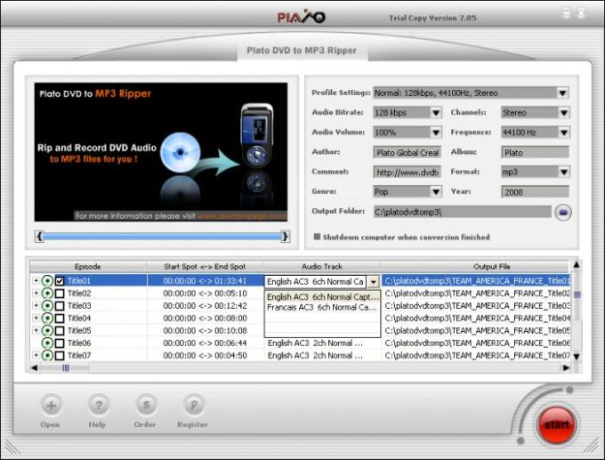 Plato DVD To MP3 Ripper