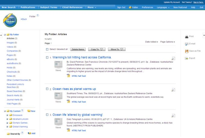 EBSCOhost Research Interface