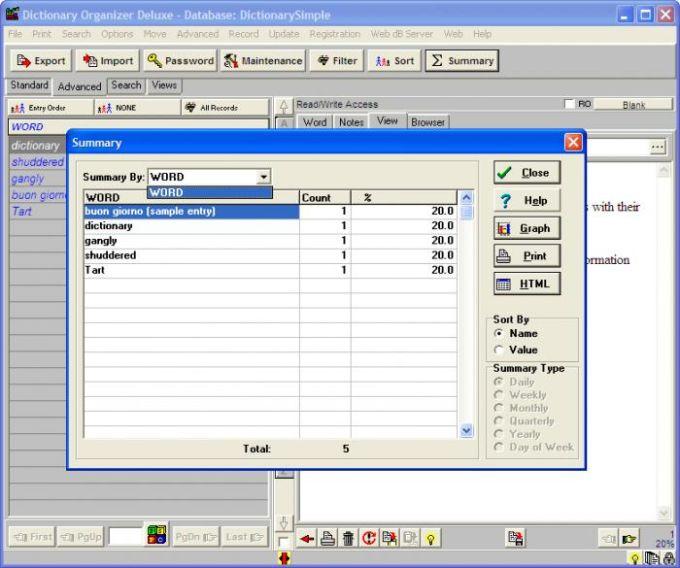 Dictionary Organizer Deluxe