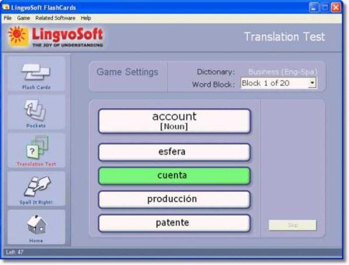 LingvoSoft FlashCards English - Spanish