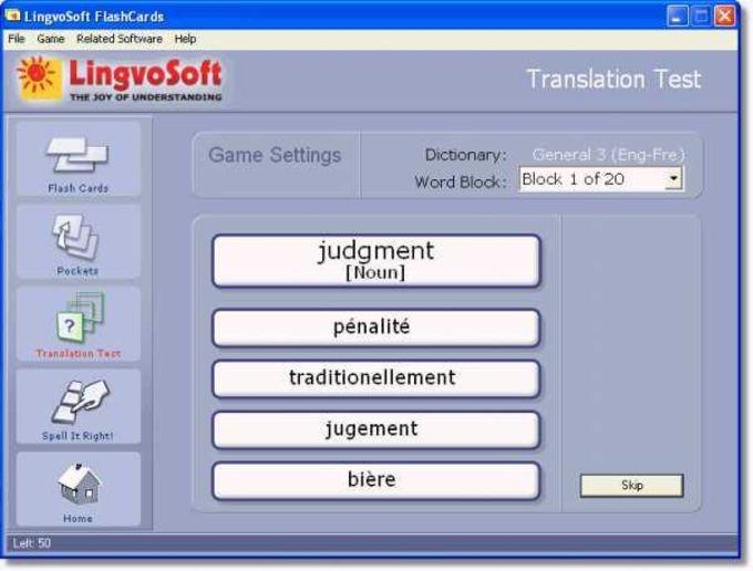 LingvoSoft FlashCards English-French