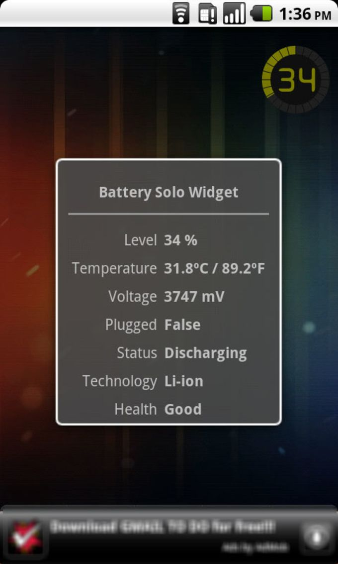 Battery Solo Widget