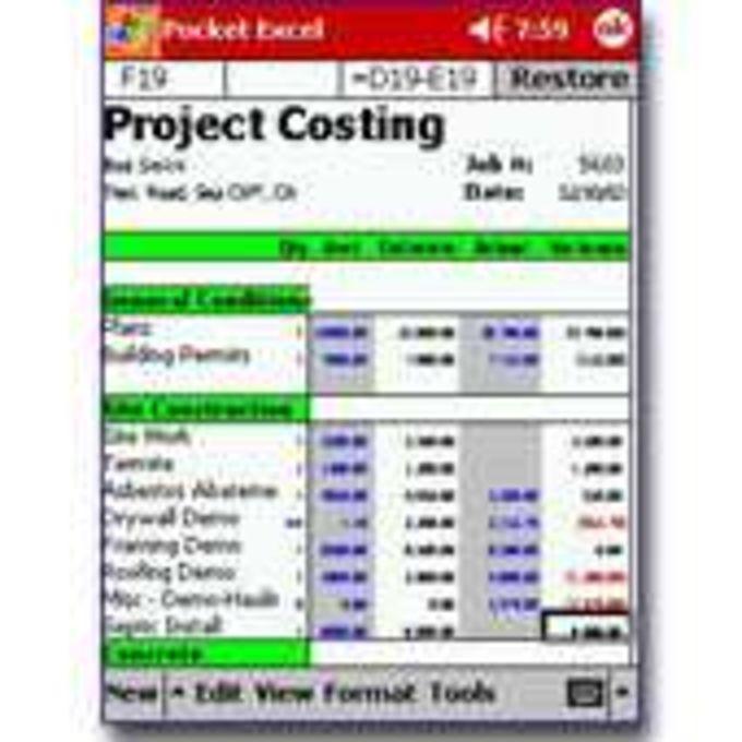 Pocket Estimate/Costing