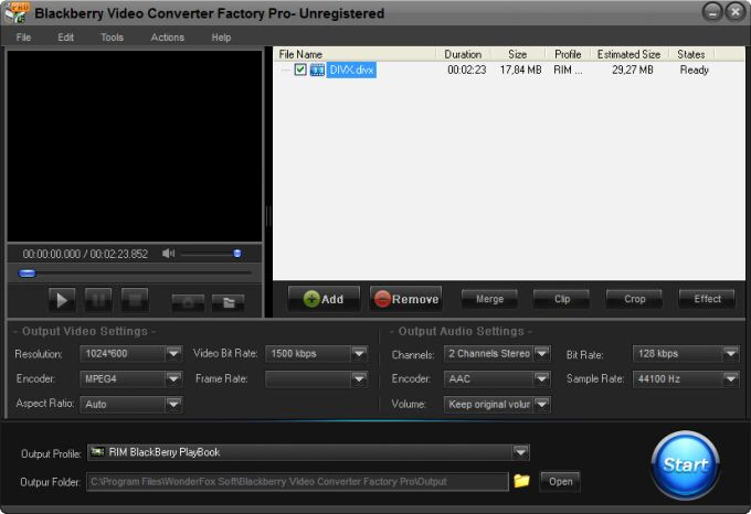 Blackberry Video Converter Factory Pro