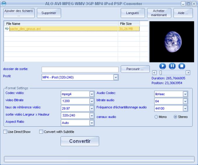 ALO AVI MPEG WMV 3GP MP4 iPod PSP Converter