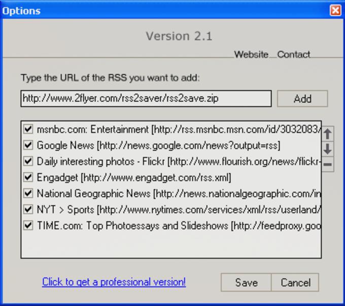 2Flyer RSS Screensaver