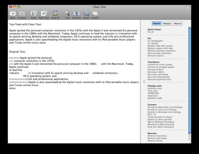 Apimac Clean Text
