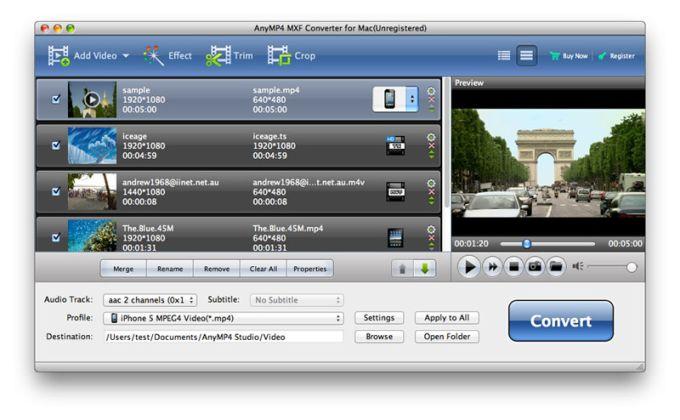 AnyMP4 MXF Converter for Mac