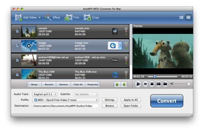 AnyMP4 MOV Converter for Mac