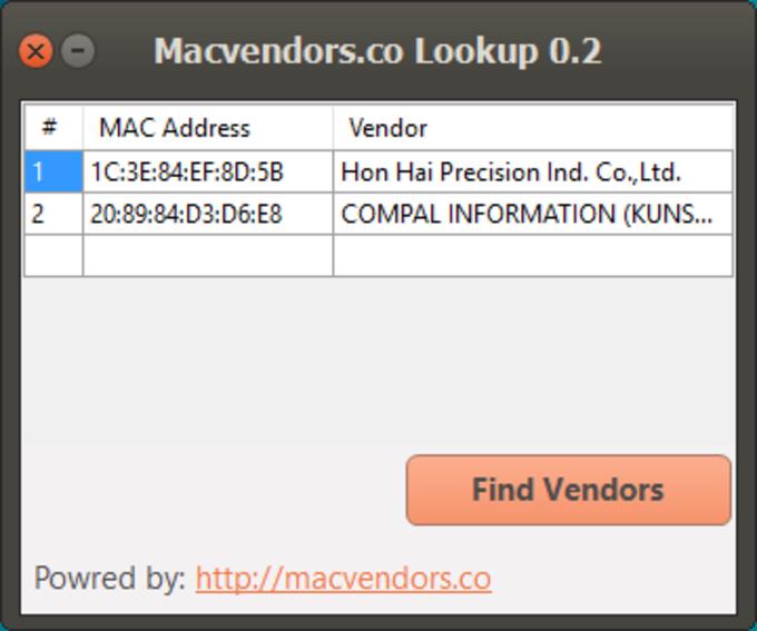 Macvendors.co Lookup
