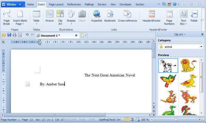 Kingsoft Writer Professional 2012