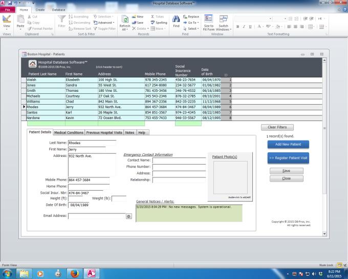Hospital Database Software