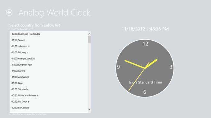 Metro Analog World Clock for Windows 10