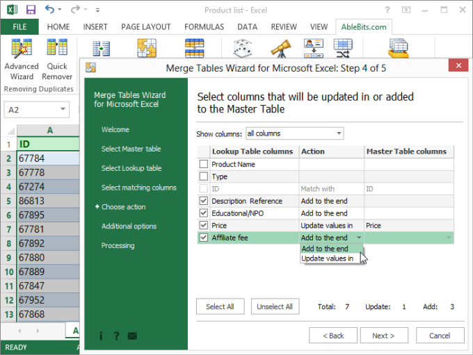 Merge Tables Wizard for Microsoft Excel