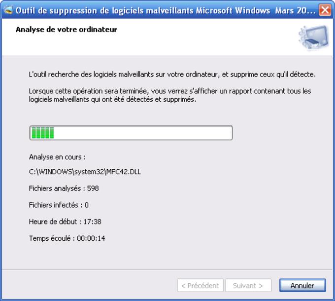Outil de suppression des logiciels malveillants Microsoft Windows