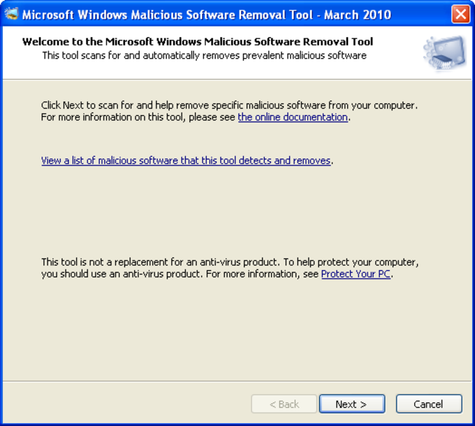 Windows Malicious Software Removal Tool