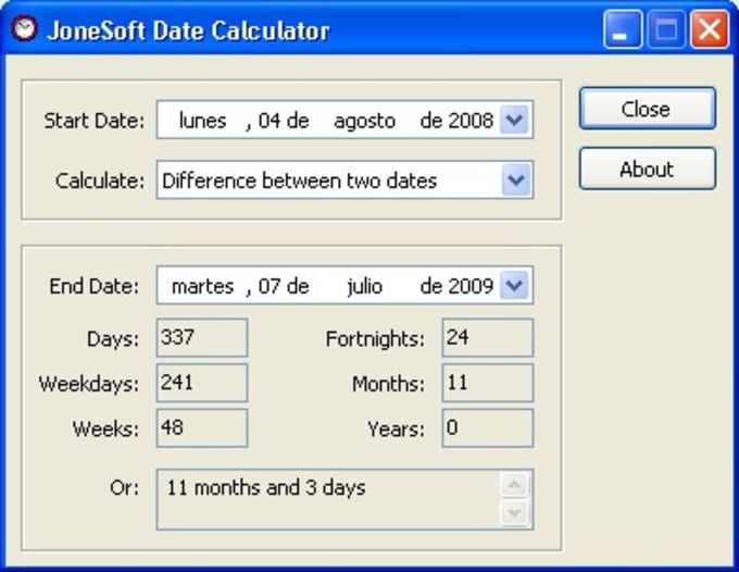 JoneSoft Date Calculator