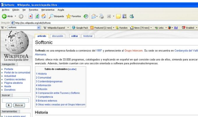 Wikipedia Toolbar for IE