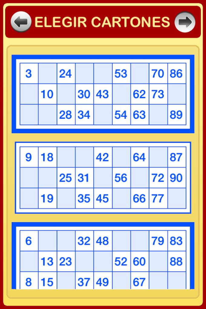 Cartones de Bingo